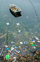 marine debris or marine litter, plastic wastes floating ashore, Camarinas, Galicia, Spain, Atlantic Ocean