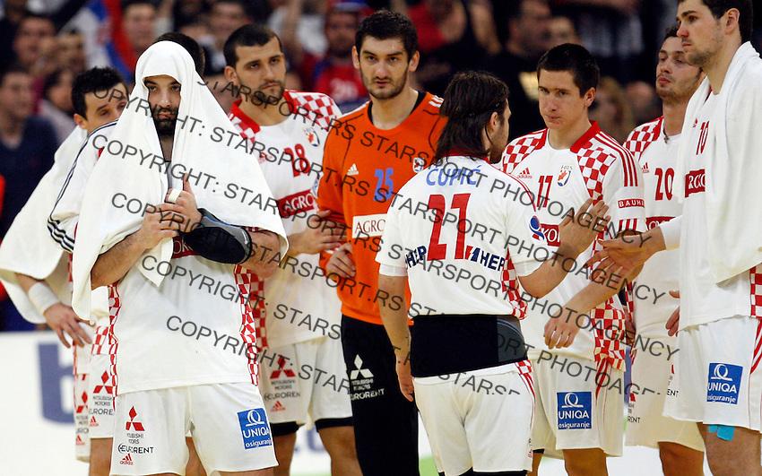 Ivano Balic and other Croatian players after loosing men`s EHF EURO 2012 championship semifinal handball game against Serbia in Belgrade, Serbia, Friday, January 27, 2011.  (photo: Pedja Milosavljevic / thepedja@gmail.com / +381641260959)