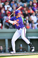 Clemson Tigers center fielder Bryce Teodosio (31) swings at a pitch during a game against the South Carolina Gamecocks at Fluor Field on March 5, 2016 in Greenville, South Carolina. The Tigers defeated the Gamecocks 5-0. (Tony Farlow/Four Seam Images)