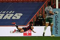 8th September 2020; Ashton Gate Stadium, Bristol, England; Premiership Rugby Union, Bristol Bears versus Northampton Saints; Piers O'Conor of Bristol Bears dives over to score a try