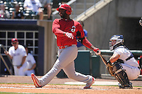 Springfield Cardinals Chris Jacobs (44) swings during the game against the Northwest Arkansas Naturals at Arvest Ballpark on May 4, 2016 in Springdale, Arkansas.  Springfield won 10-6.  (Dennis Hubbard/Four Seam Images)