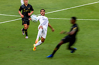 LOS ANGELES, CA - AUGUST 22: Jonathan dos Santos #8 of the Los Angeles Galaxy reaches for a loose ball during a game between Los Angeles Galaxy and Los Angeles FC at Banc of California Stadium on August 22, 2020 in Los Angeles, California.