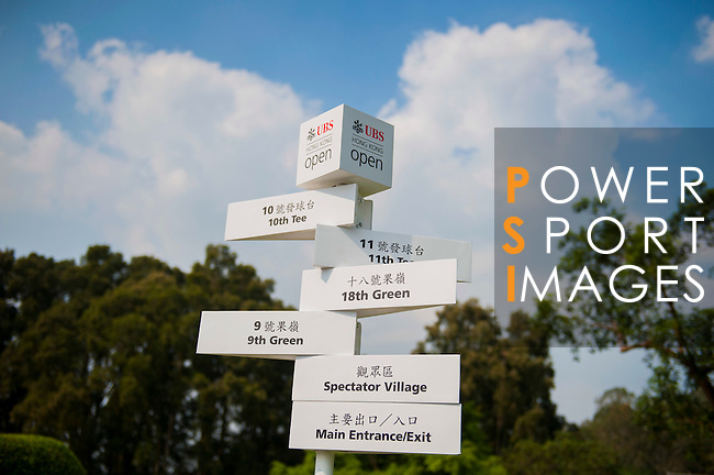 Branding on course in preparation for the UBS Hong Kong Open golf tournament at the Fanling golf course on 21 October 2015 in Hong Kong, China. Photo by Xaume Olleros / Power Sport Images