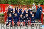 Junior infants at Caherlaheen National School with teacher Mrs Adrien Heaslip.
