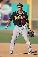 William Swanner #23 of the Modesto Nuts during a game against the High Desert Mavericks at Heritage Field on June 29, 2014 in Adelanto, California. High Desert defeated Modesto, 6-1. (Larry Goren/Four Seam Images)