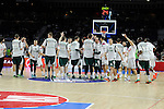 Real Madrid´s players and Zalgiris Kaunas´s players during 2014-15 Euroleague Basketball match between Real Madrid and Zalgiris Kaunas at Palacio de los Deportes stadium in Madrid, Spain. April 10, 2015. (ALTERPHOTOS/Luis Fernandez)