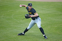 Appalachian State Mountaineers starting pitcher Ben Peterson (46) makes a throw to first base against the Charlotte 49ers at Atrium Health Ballpark on March 23, 2021 in Kannapolis, North Carolina. (Brian Westerholt/Four Seam Images)