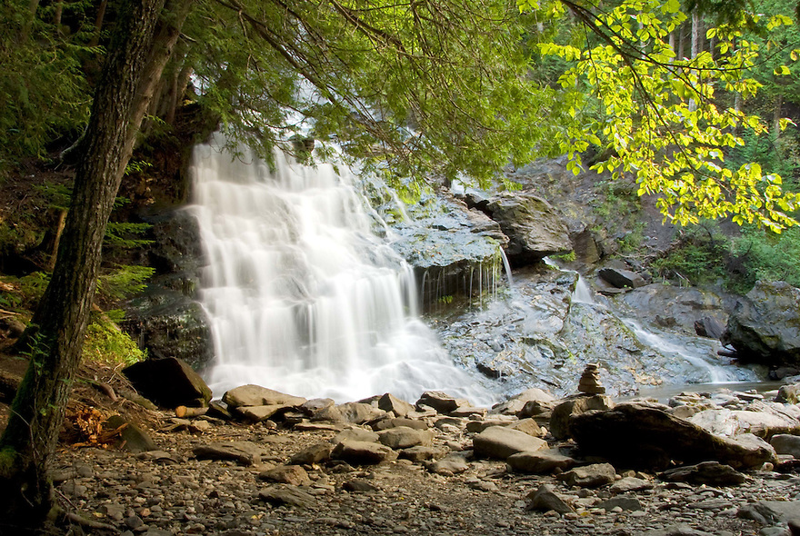 Beaver Brook Falls in Colebrook New Hampshire, framed by Cedar and Beech.