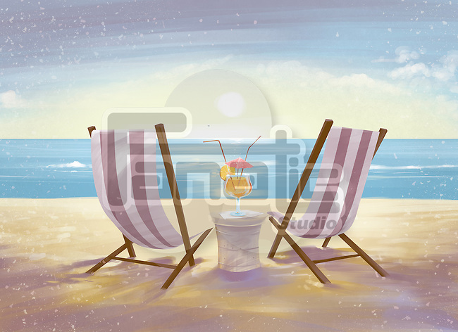 Illustration of deck chairs on beach