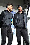 Bernhard Eisel (AUT) and Sir Bradley Wiggins (GBR) Team Sky at the Team Presentations in Compiegne before the 2015 Paris-Roubaix cycle race held over the cobbled roads of Northern France. 11th April 2015.<br /> Photo: Eoin Clarke www.newsfile.ie