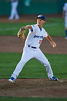 Austin Hamilton (16) of the Ogden Raptors delivers a pitch to the plate against the Orem Owlz at Lindquist Field on June 19, 2018 in Ogden, Utah. The Raptors defeated the Owlz 7-2. (Stephen Smith/Four Seam Images)