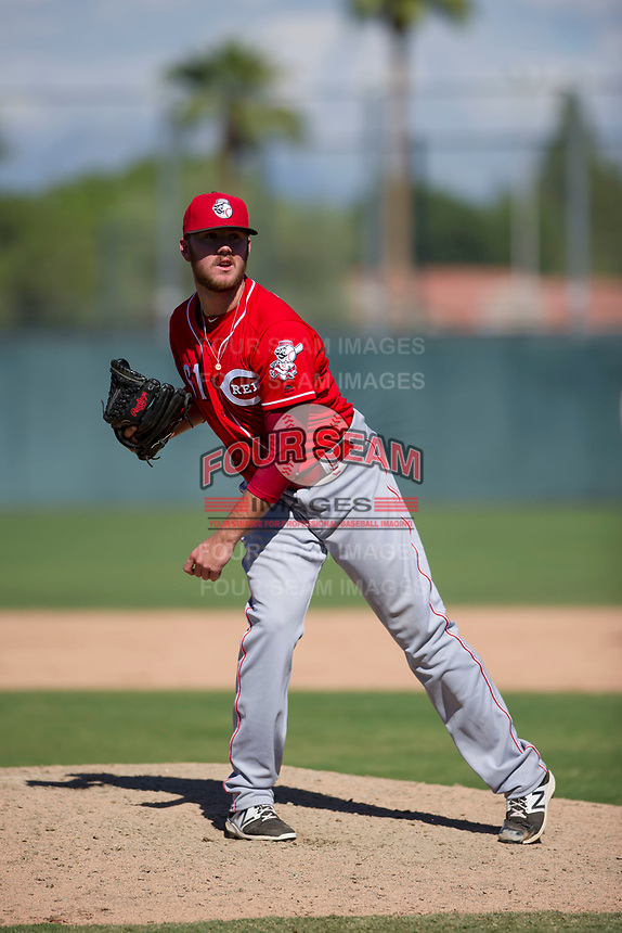 Cincinnati Reds pitcher Joel Bender (61) follows through on a pitch to the plate during an Instructional League game against the Oakland Athletics on September 29, 2017 at Lew Wolff Training Complex in Mesa, Arizona. (Zachary Lucy/Four Seam Images)