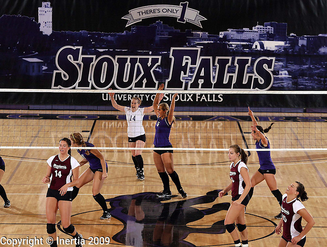 SIOUX FALLS, SD - OCTOBER 3: The University of Sioux Falls celebrates a point against Morningside College in the second game of their match Saturday afternoon at the Stewart Center. (Photo by Dave Eggen/Inertia).