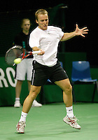 21-2-06, Netherlands, tennis, Rotterdam, ABNAMROWTT,  Christophe Rochus in action against Jean-Rene Lisnard