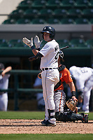 Detroit Tigers Cole MacLaren (47) bats during a Minor League Spring Training game against the Baltimore Orioles on April 14, 2021 at Joker Marchant Stadium in Lakeland, Florida.  (Mike Janes/Four Seam Images)