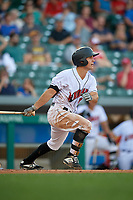 Indianapolis Indians second baseman Adam Frazier (26) grounds out during a game against the Rochester Red Wings on July 24, 2018 at Victory Field in Indianapolis, Indiana.  Rochester defeated Indianapolis 2-0.  (Mike Janes/Four Seam Images)
