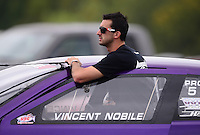 Sept. 16, 2012; Concord, NC, USA: NHRA pro stock driver Vincent Nobile during the O'Reilly Auto Parts Nationals at zMax Dragway. Mandatory Credit: Mark J. Rebilas-