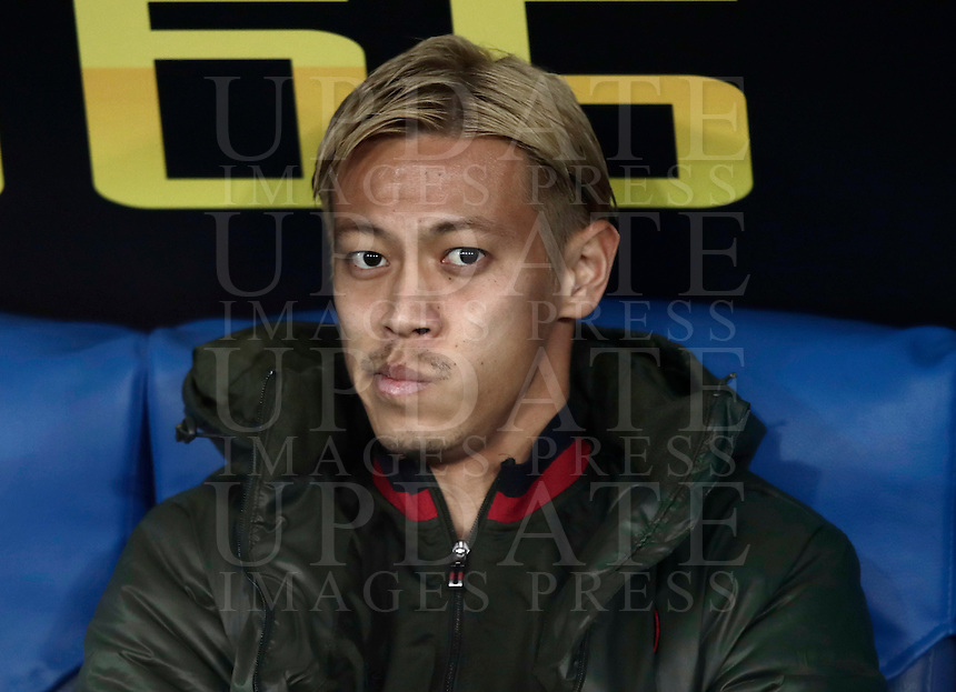 Calcio, Serie A: Lazio, Stadio Olimpico, 13 febbraio 2017.<br /> Milan's Keisuka Honda waits for the start of the Italian Serie A football match between Lazio and Milan at Roma's Olympic Stadium, on February 13, 2017.<br /> UPDATE IMAGES PRESS/Isabella Bonotto
