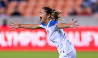 HOUSTON, TX - JANUARY 31: Raquel Rodriguez #11 of Costa Rica celebrates during a game between Haiti and Costa Rica at BBVA Stadium on January 31, 2020 in Houston, Texas.