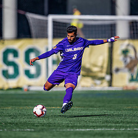 5 October 2019: University at Albany Great Dane Defender Riccardo Iafrate, a Junior from Avezzano, Italy, in action against the University of Vermont Catamounts at Virtue Field in Burlington, Vermont. The Catamounts fell to the visiting Danes 3-1 in America East, Division 1 play. Mandatory Credit: Ed Wolfstein Photo *** RAW (NEF) Image File Available ***