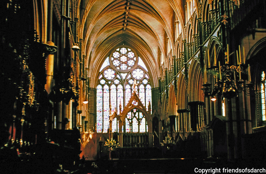 Choir of Lincoln Cathedral in Lincoln, England, 1220-1280. Gothic architecture