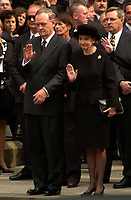 Montreal, 2000-10-03 <br /> Canadian Prime Minister ;  the Honorable Jean ChrÈtien and his wife Aline were attending the funeral of former Canadian Prime Minister, the Honorable Pierre Eliott Trudeau  held at the Notre-Dame Basilica in Montreal (QuÈbec, Canada) on October 10th, 2000.<br /> <br /> <br /> PHOTO : Agence Quebec Presse - Pierre Roussel