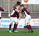 Stenny's Sean Dickson (10) celebrates with Gary Oliver (7) after he scores their second goal.