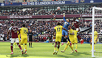 Brentford goalkeeper, David Raya punches the ball clear during West Ham United vs Brentford, Premier League Football at The London Stadium on 3rd October 2021