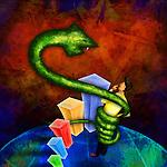 Illustrative image of snake wrapped around businessman