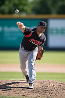 Lake Elsinore Storm relief pitcher David Bednar (24) delivers a pitch to the plate during a California League game against the Modesto Nuts at John Thurman Field on May 13, 2018 in Modesto, California. Lake Elsinore defeated Modesto 4-3. (Zachary Lucy/Four Seam Images)