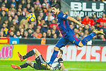 Sergio Busquets Burgos of FC Barcelona competes for the ball with Simone Zaza of Valencia CF during the La Liga 2017-18 match between Valencia CF and FC Barcelona at Estadio de Mestalla on November 26 2017 in Valencia, Spain. Photo by Maria Jose Segovia Carmona / Power Sport Images