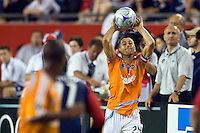 Houston Dynamo defender Wade Barrett (24) on a throw in. The New England Revolution defeated the Houston Dynamo 2-2 (6-5) in penalty kicks in the SuperLiga finals at Gillette Stadium in Foxborough, MA, on August 5, 2008.