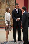 Spanish Royals King Felipe VI of Spain and Queen Letizia of Spain attend a reception at El Pardo palace in Madrid, Spain. June 22, 2015. (ALTERPHOTOS/Victor Blanco)