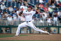 Mississippi State Bulldogs pitcher Trysten Barlow (46) delivers a pitch to the plate during Game 8 of the NCAA College World Series against the Vanderbilt Commodores on June 19, 2019 at TD Ameritrade Park in Omaha, Nebraska. Vanderbilt defeated Mississippi State 6-3. (Andrew Woolley/Four Seam Images)