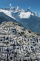 Mani stone with Kusum Kangkaru in the background, Khumbu, Nepal