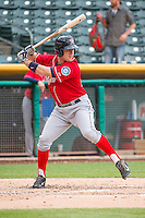 Patrick Kivlehan (27) of the Tacoma Rainiers at bat against the Salt Lake Bees in Pacific Coast League action at Smith's Ballpark on May 7, 2015 in Salt Lake City, Utah. The Bees defeated the Rainiers 11-4 in the completion of the game that was suspended due to weather on May 6, 2015. (Stephen Smith/Four Seam Images)
