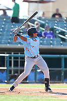 Jose Rondon #11 of the Inland Empire 66ers bats against the Lancaster JetHawks at The Hanger on May 26, 2014 in Lancaster, California. Lancaster defeated Inland Empire, 6-5. (Larry Goren/Four Seam Images)
