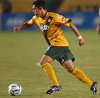 Los Angeles Galaxy's Herculez Gomez moves the ball up field  against FC Dallas in the first half at the Home Depot Center in Carson, CA on Saturday night, October 1, 2005..(Matt A. Brown/ISI)