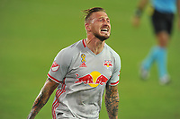 WASHINGTON, DC - SEPTEMBER 12: Daniel Royer #77 of New York Red Bulls celebrates his score during a game between New York Red Bulls and D.C. United at Audi Field on September 12, 2020 in Washington, DC.