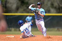 Maine Black Bears infielder Troy Black (30) throws to first as Zach Coppola (19) slides in during a game against the South Dakota State JackRabbits at South County Regional Park on March 9, 2014 in Port Charlotte, Florida.  Maine defeated South Dakota 5-4.  (Mike Janes/Four Seam Images)