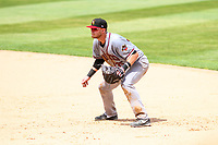 Quad Cities River Bandits first baseman Seth Beer (35) gets into defensive position during a Midwest League game against the Kane County Cougars on July 1, 2018 at Northwestern Medicine Field in Geneva, Illinois. Quad Cities defeated Kane County 3-2. (Brad Krause/Four Seam Images)