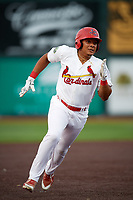 Johnson City Cardinals second baseman Donivan Williams (3) runs the bases during a game against the Danville Braves on July 28, 2018 at TVA Credit Union Ballpark in Johnson City, Tennessee.  Danville defeated Johnson City 7-4.  (Mike Janes/Four Seam Images)
