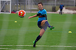 Doncaster Rovers Belles 1 Chelsea Ladies 4, 20/03/2016. Keepmoat Stadium, Womens FA Cup. Becky Easton of Doncaster Rovers Belles practices shooting during a training session on the astroturf pitch outside The Keepmoat Stadium. Photo by Paul Thompson.