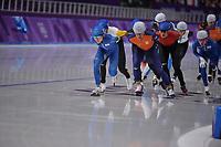OLYMPIC GAMES: PYEONGCHANG: 24-02-2018, Gangneung Oval, Long Track, Mass Start Men, Chung Jaewon (KOR), Koen Verweij (NED), ©photo Martin de Jong