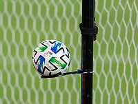 WASHINGTON, DC - SEPTEMBER 12: A Adidas soccer ball sits off field during a game between New York Red Bulls and D.C. United at Audi Field on September 12, 2020 in Washington, DC.