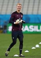 Joe Hart of England smiles during training ahead of tomorrow's Group D match vs Uruguay