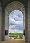 Gettysburg National Military Park, PA<br /> View of Gettysburg battlefield thru and archway of the Pennsylvania Memorial on Cemetery Ridge