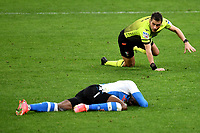 Referee Fabrizio Pasqua falls to the ground while Victor Osimhen of SSC Napoli is suffering during the Serie A football match between AC Milan and SSC Napoli at San Siro Stadium in Milano  (Italy), March 14th, 2021. Photo Andrea Staccioli / Insidefoto