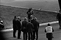 Le  1er vol d'essai du Concorde-<br /> Aérogare Blagnac ,Toulouse, France,<br />  2 mars 1969<br /> <br /> 'André Turcat (directeur des essais en vol de Sud Aviation et pilote) discutant avec Henri Ziegler (Président de Sud Aviation et responsable du projet Concorde), photographes autour