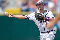 TCU's 2B Davy Wright against Florida State in Game 1 of the NCAA Division One Men's College World Series on Saturday June 19th, 2010 at Johnny Rosenblatt Stadium in Omaha, Nebraska.  (Photo by Andrew Woolley / Four Seam Images)